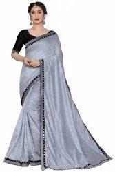 Ladies Lace Border Net Saree