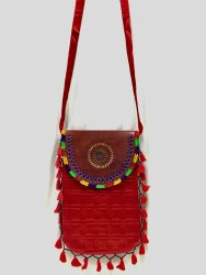 Handicraft Round Leather Flap Plain Bag (Big Size)