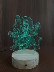 Shayona Jay Ambe Multi Color 3D  Illusion LED Acrylic Table Top Night Lamp