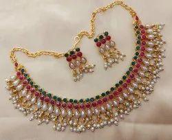 Multicolor Wedding Cz Necklace Set