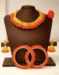Gold finish Red Colour Traditional Fancy Combo Jewellery Set for Women