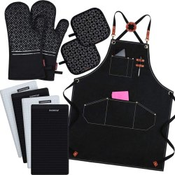 Black Rectangular Trulife Textiles Kitchen Linen Set