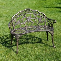Shubhangi Castings Black Two Seater Cast Iron Chair, For Park,Garden, Size: 3 Feet Height,2.8 Feet Width