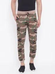 Harbor N Bay Men Brown & Green Camouflage Printed Slim-Fit Joggers