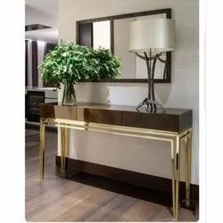 Prashaant Steel Brass Console Table