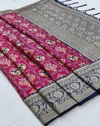 6.3 m (with blouse piece) ANK Enterprise Designer Banarasi Soft Patola Silk Wedding Saree