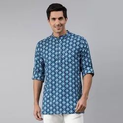 Janasya Men's Blue Cotton Kurta ( Men5029)