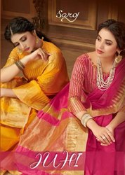 Saroj Textiles Juhi Cotton Silk With Jari Pallu And Swarovski Butta Printed Saree Catalog