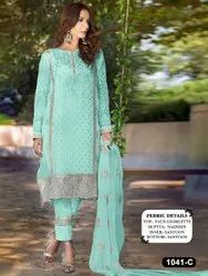 Georgette Embroidered Eid Special Suits With Embroideried Work With Dupatta, Packet