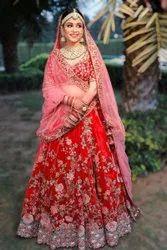 Malay Satin Embroidery Red Type Bridal Wear Lehenga Choli