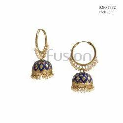 Fusion Arts Meenakari Bali Jhumka Earrings