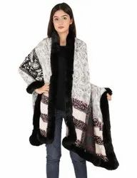 Woolen Jekart Stole With 4 Side Fur Trim Stoles