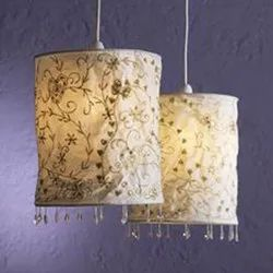 Cotton Embroidery Lamp Shades With Beads, Wall Hanging Lampshade, Home Decor Lamp, Lampshade