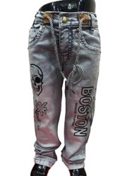 Casual Wear Stretchable Kids Denim Printed Jeans, Machine wash