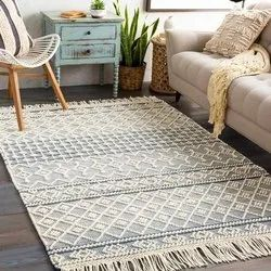Pail Wool Handwoven Rug,Blue Argyle Trellis Area Rug ,Knotted Wool Rug For Home And Living