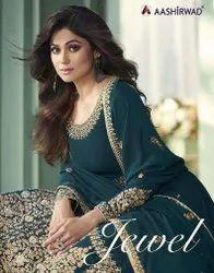 Aashirwad Creation Jewel Georgette Designer Anarkali Type Salwar Suit Catalog