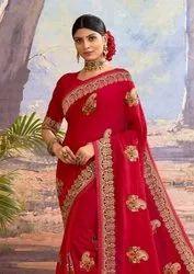 Saroj Textiles Kangana Vichitra Silk With Border Work Saree Catalog