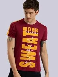 Hosiery Half Sleeve Printed T-shirts for Men, Size: M To XXL