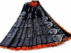 Casual Wear Black Ladies Printed Cotton Saree, With Blouse Piece, 5.5 m