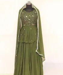 Net,Georgette Green Mangaldeep Embroidered Lehenga Choli, 2 Meter