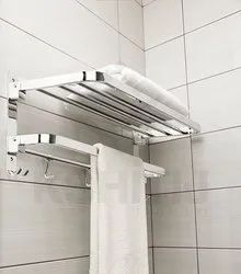 Silver Stainless Steel Bathroom Rack, For Hotel