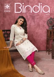 Kiana Fashion Bindia Vol 2 Cotton Rayon With Work Kurti With Bottom Catalog