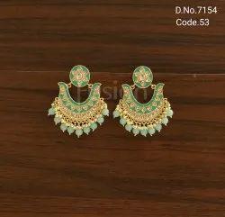 Fusion Arts Chandbali Meenakari Earrings