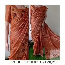 Party Wear Cross Stitch Tussar Silk Sarees with Blouse