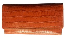 Croc Printed Leather Clutch