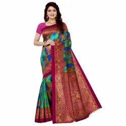 Multicolor Vimalnath Synthetics Printed Bhagalpuri Art Silk Saree, Machine Made, Size: Free
