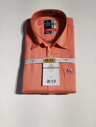 RJ-13 Orange Mens Plain Cotton Shirts, Machine wash, Size: 38