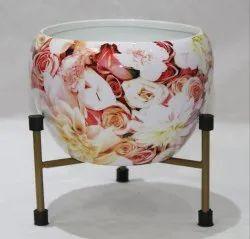 Iron Printed Flower Pots For Indoor Pot