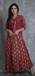 Flex Cotton fabric long gown, Multicolour