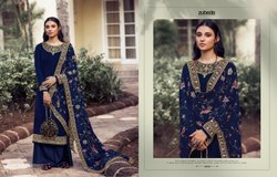 Chinon Heavy Embroidery Party Wear Ladies Salwar Suits Palazzo