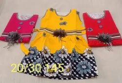 Cotton Girls Printed Casual Wear Frocks, Size: 20
