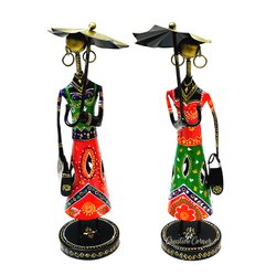 Creative Corner Iron Fashion Dolls with Umbrella Set of 2 Figurine Showpiece