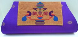 Printed Cotton Ladies Purple Embroidered Clutch Bag