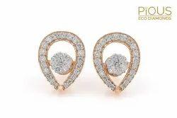 Real Diamonds Round Ovate Shape Diamond Earrings, 5.477, 14 Kt