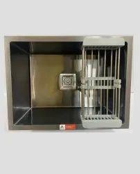 Aarvik Single Stainless Steel Black Matt  Handmade Sinks