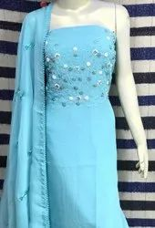 Unstitched Heavy Hand Embroidery Work On Georgette