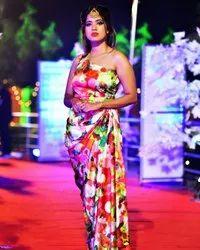 Ladies Satin Digital Printed Dress, Packet