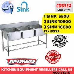 Stainless Steel Three Sink Unit Hotel And Restaurant