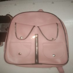 Peach Regular Ladies Nylon Backpack