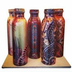 Polished Printed Copper Bottle, Capacity: 950 Ml, Screw Cap