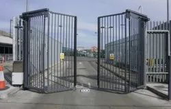 Mild Steel Color Coated Automatic BI Fold Swing Gate, For Residential