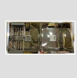 Grade Satin Finish Double Bowl Kitchen Sink  Mirror  (37 X 18 X 10 Inch,