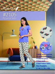 Feather Feel Multi Colour Casual Wear Top Bottom Pyjama Nightwear Set Size S-xxl