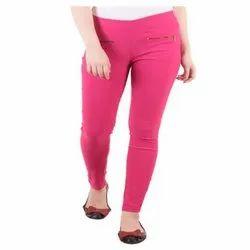 Plain Ladies Pink Cotton Jegging