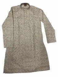 Cotton Casual Men Printed Kurta, Band Collar, Size/Dimension: 36