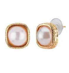 Copper Pearl Stud Earrings
